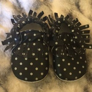 Other - Black and silver polka dot moccasins